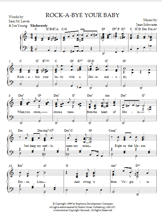 Download Jean Schwartz Rock-A-Bye Your Baby With A Dixie Melody sheet music and printable PDF score & Pop music notes