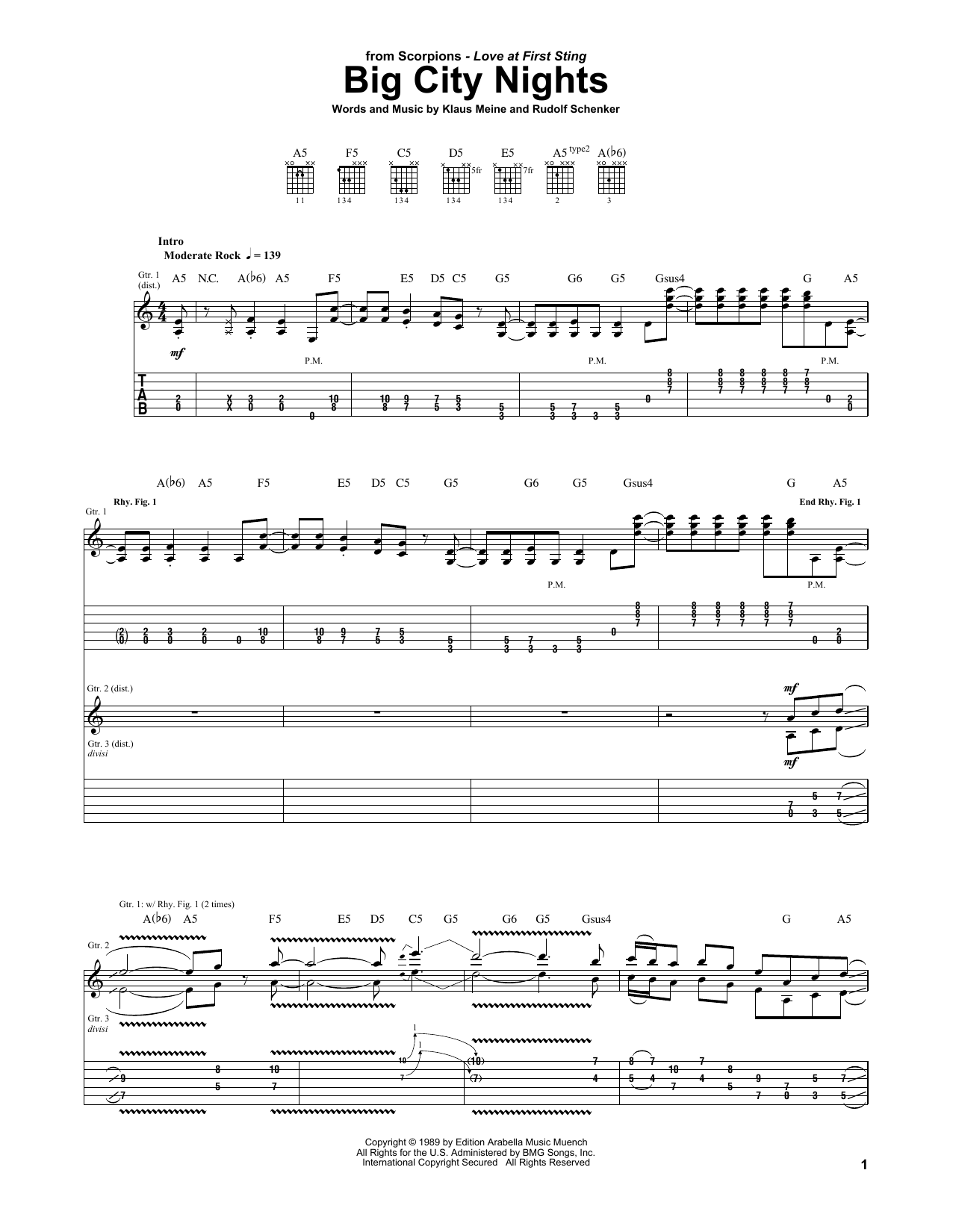 Download Scorpions Big City Nights sheet music and printable PDF score & Pop music notes