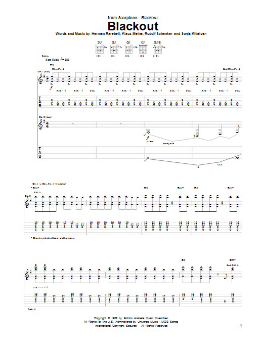 Download Scorpions Blackout sheet music and printable PDF score & Rock music notes