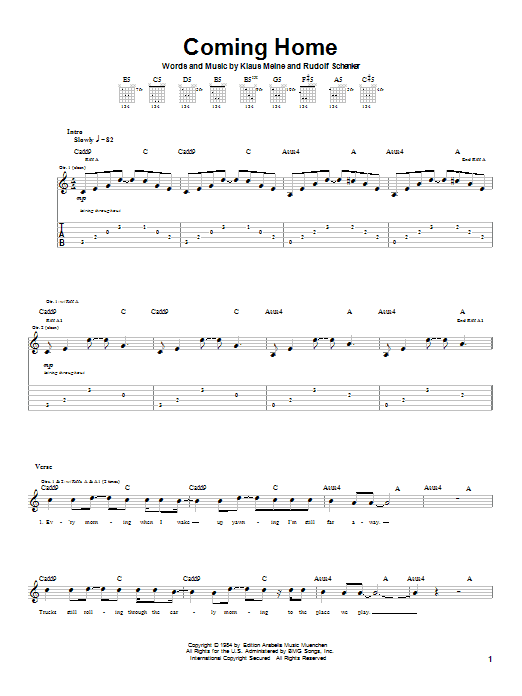 Download Scorpions Coming Home sheet music and printable PDF score & Rock music notes