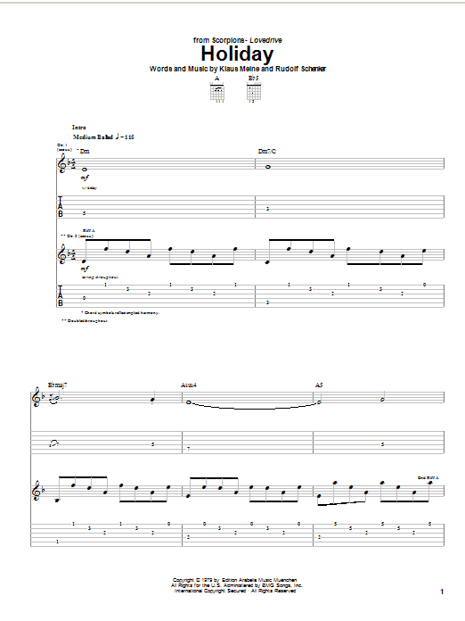 Download Scorpions Holiday sheet music and printable PDF score & Rock music notes