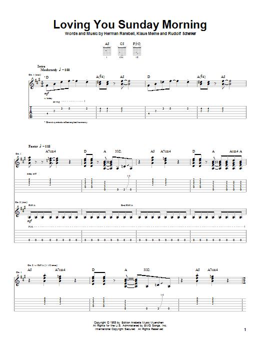 Download Scorpions Loving You Sunday Morning sheet music and printable PDF score & Rock music notes