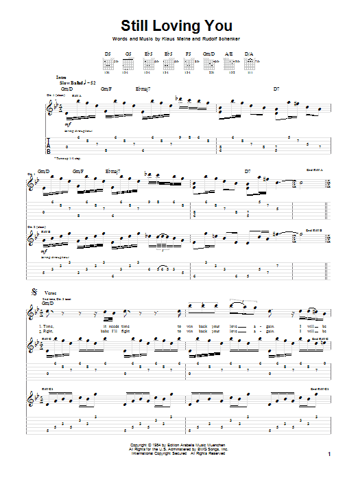 Download Scorpions Still Loving You sheet music and printable PDF score & Rock music notes