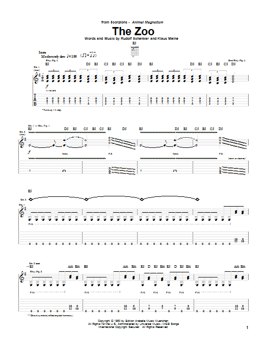 Download Scorpions The Zoo sheet music and printable PDF score & Rock music notes