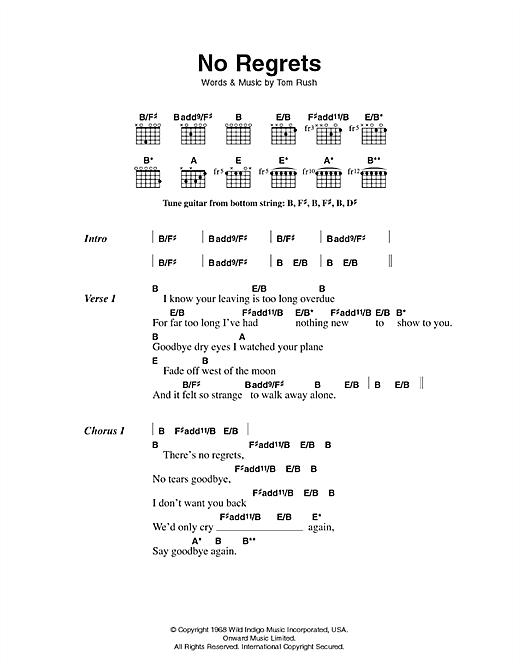 Download Scott Walker No Regrets sheet music and printable PDF score & Rock music notes