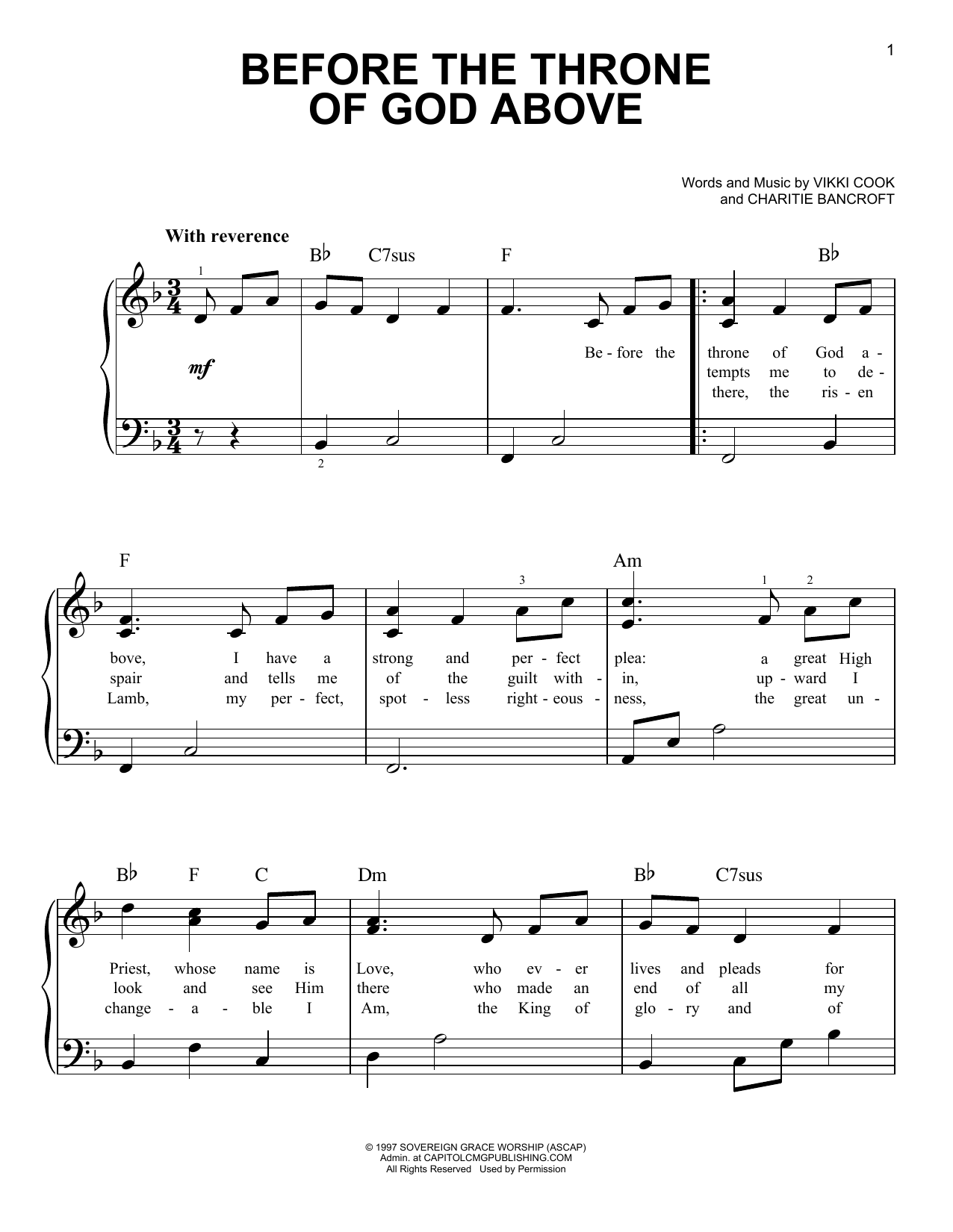Download Selah Before The Throne Of God Above sheet music and printable PDF score & Pop music notes