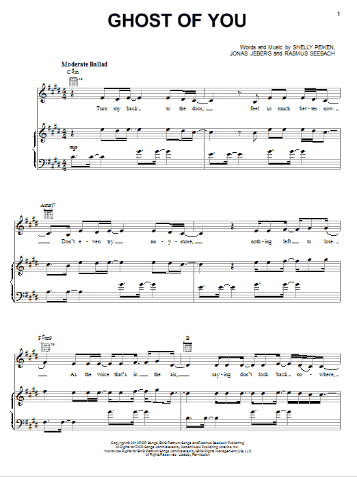 Download Selena Gomez & The Scene Ghost Of You sheet music and printable PDF score & Pop music notes