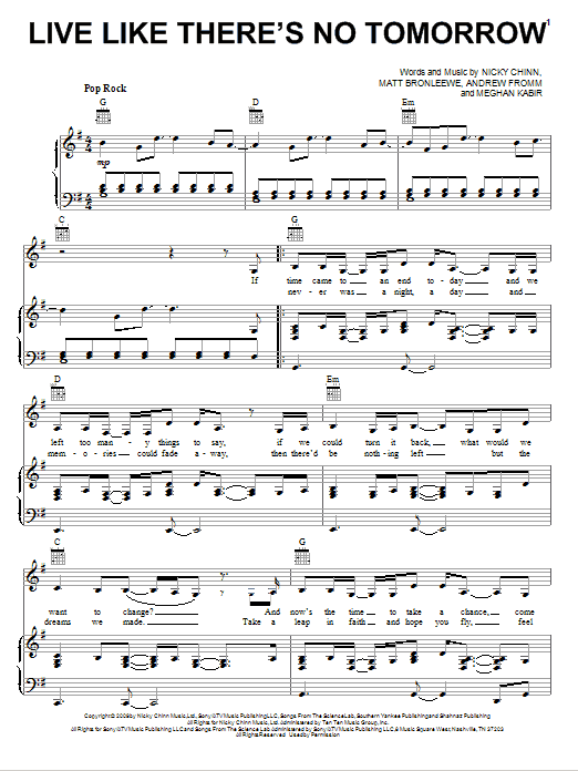 Download Selena Gomez & The Scene Live Like There's No Tomorrow sheet music and printable PDF score & Pop music notes