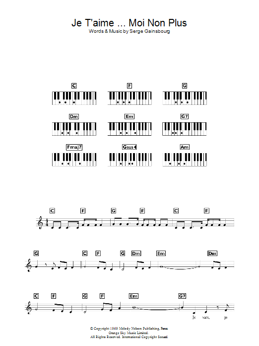 Download Jane Birkin & Serge Gainsbourg Je t'aime... moi non plus sheet music and printable PDF score & Pop music notes
