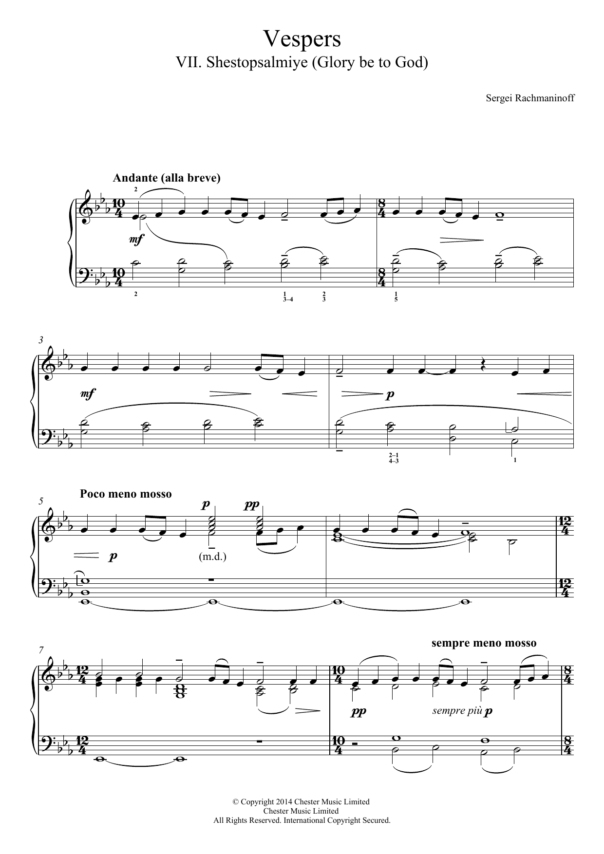 Download Sergei Rachmaninoff Vespers (All-Night Vigil) Op.37, No.7 Shestopsalmiye (Glory be to God) sheet music and printable PDF score & Classical music notes