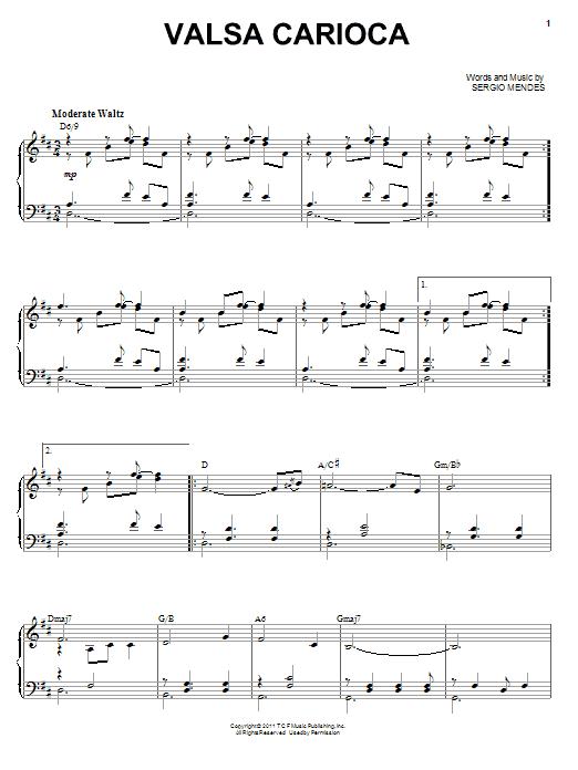 Download Sergio Mendes Valsa Carioca sheet music and printable PDF score & Children music notes
