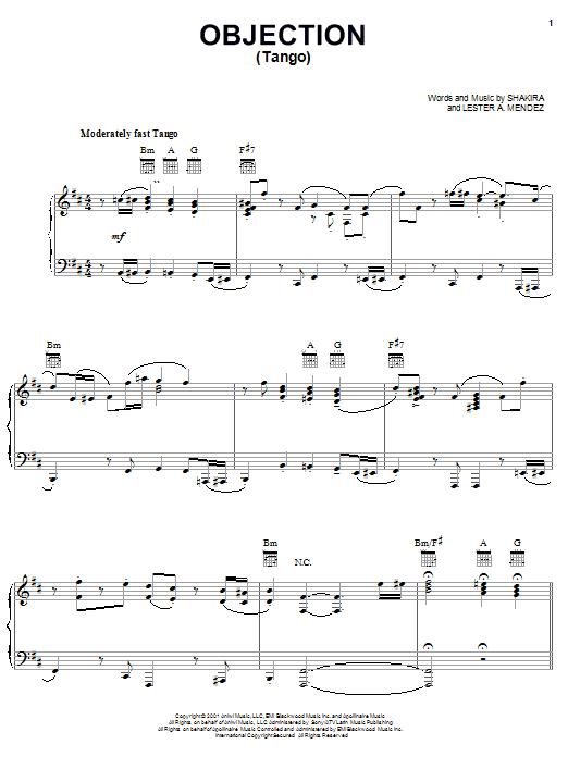 Download Shakira Objection (Tango) sheet music and printable PDF score & Pop music notes