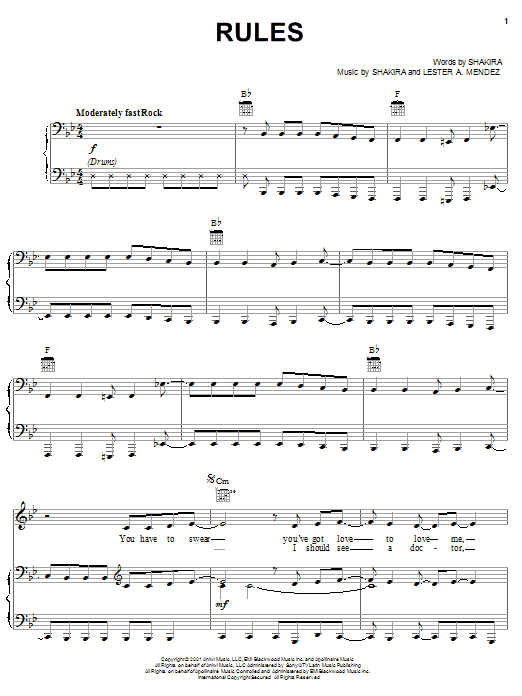 Download Shakira Rules sheet music and printable PDF score & Pop music notes