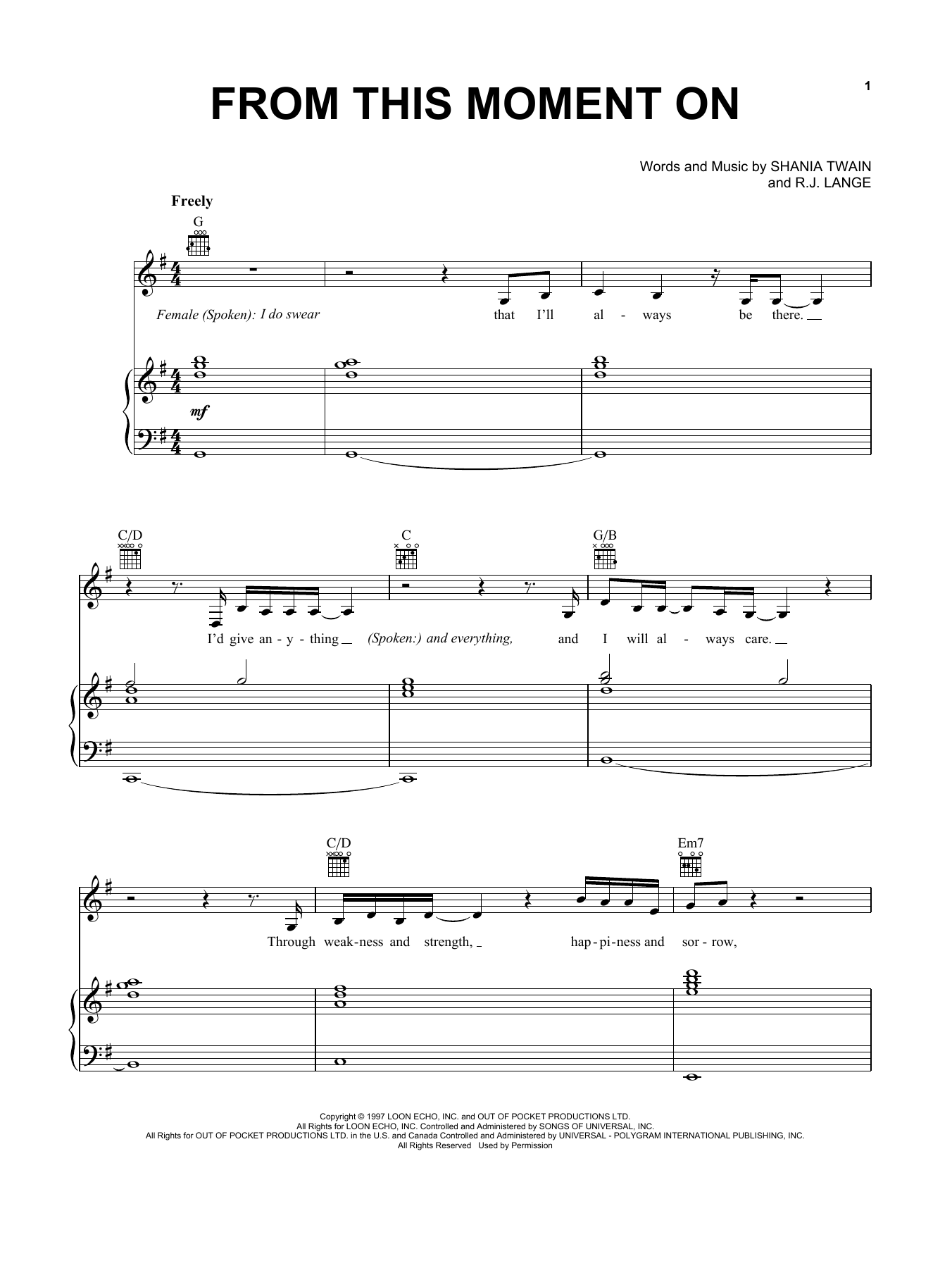 Download Shania Twain From This Moment On sheet music and printable PDF score & Pop music notes