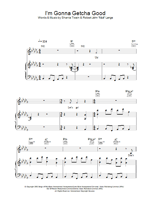 Download Shania Twain I'm Gonna Getcha Good sheet music and printable PDF score & Pop music notes