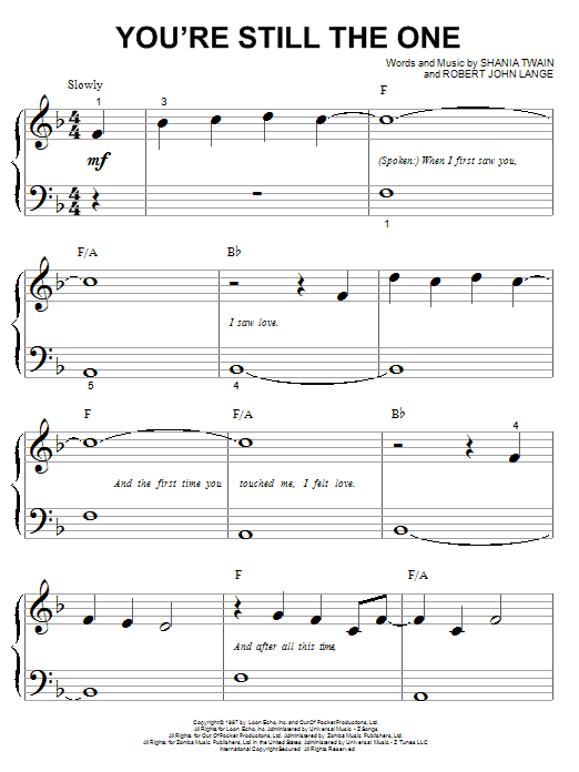 Download Shania Twain You're Still The One sheet music and printable PDF score & Pop music notes