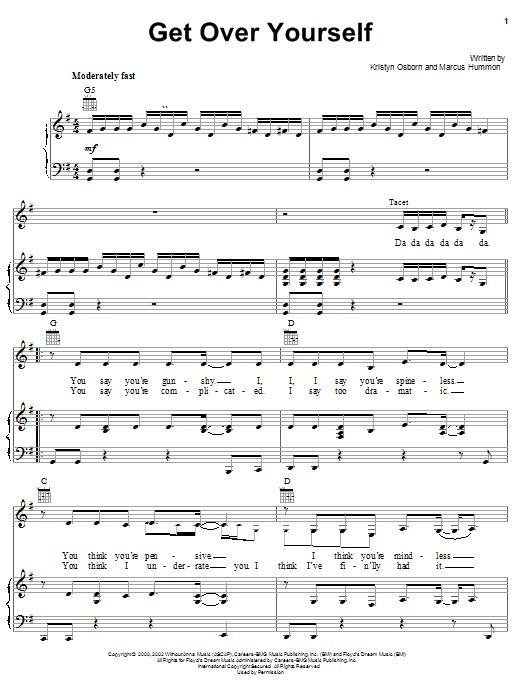 Download SHeDAISY Get Over Yourself sheet music and printable PDF score & Country music notes