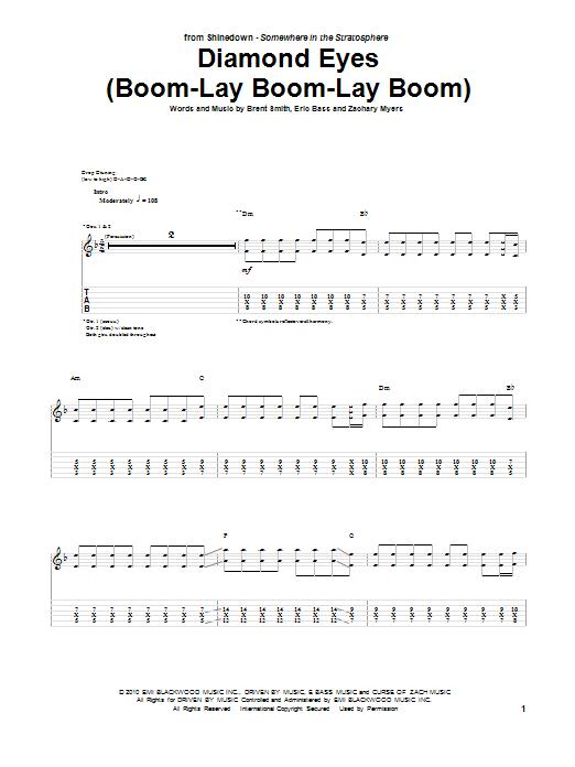Download Shinedown Diamond Eyes (Boom-Lay Boom-Lay Boom) sheet music and printable PDF score & Pop music notes