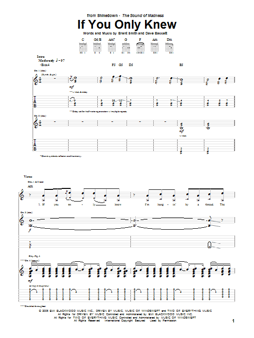 Download Shinedown If You Only Knew sheet music and printable PDF score & Pop music notes