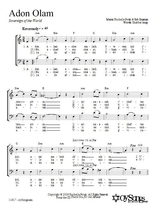 Download Shir Harmony Adon Olam sheet music and printable PDF score & Religious music notes