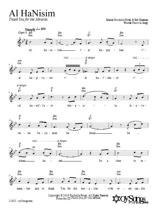 Download Shir Harmony Al HaNisim sheet music and printable PDF score & Religious music notes