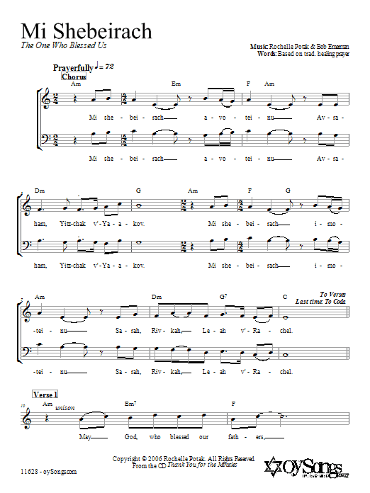 Download Shir Harmony Mi Shebeirach sheet music and printable PDF score & Religious music notes
