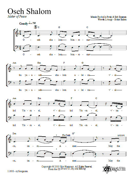 Download Shir Harmony Oseh Shalom sheet music and printable PDF score & Religious music notes