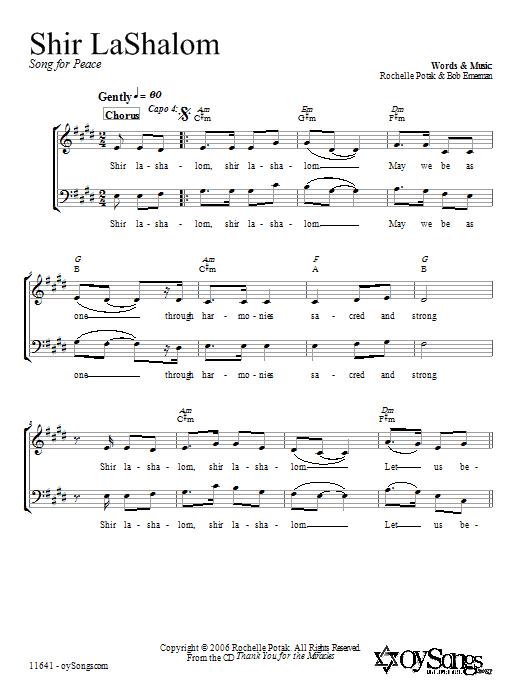 Download Shir Harmony Shir LaShalom sheet music and printable PDF score & Religious music notes