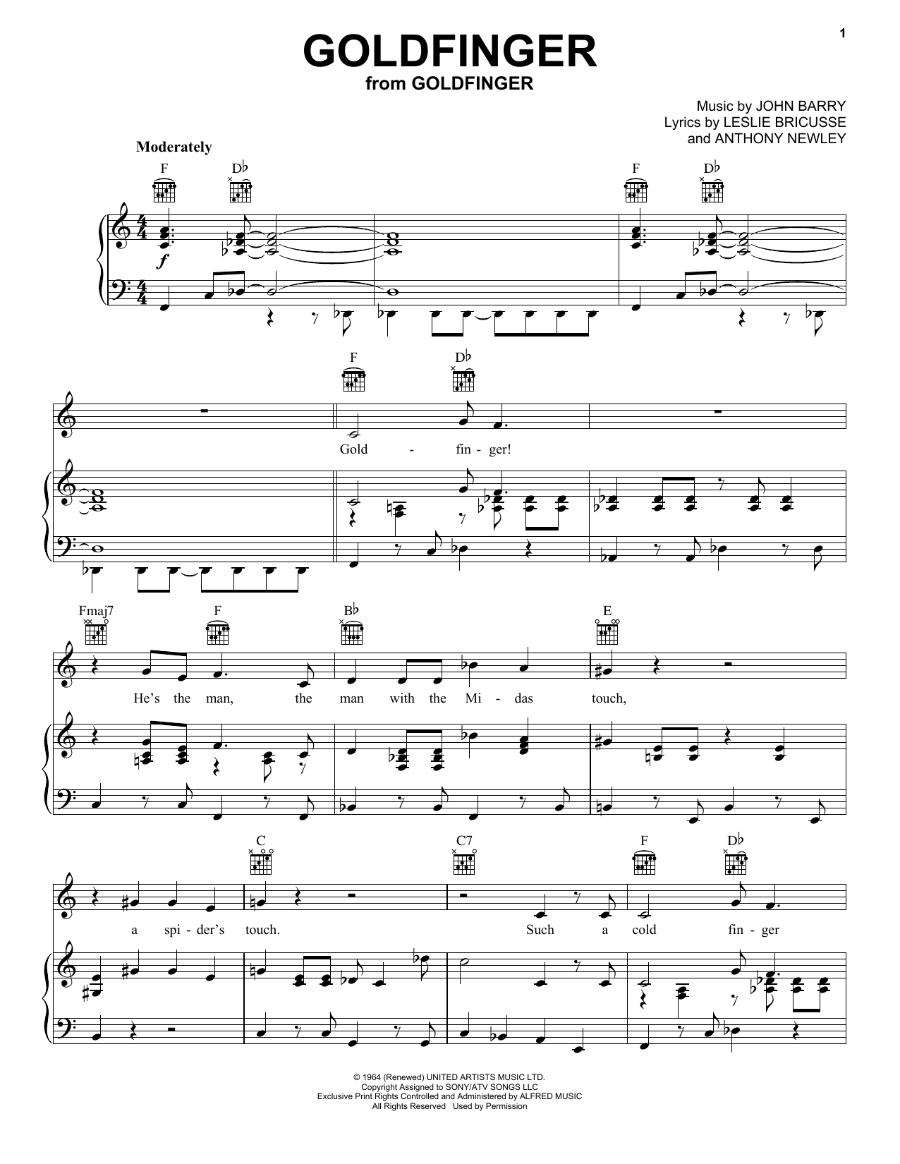 Download Shirley Bassey Goldfinger sheet music and printable PDF score & Pop music notes