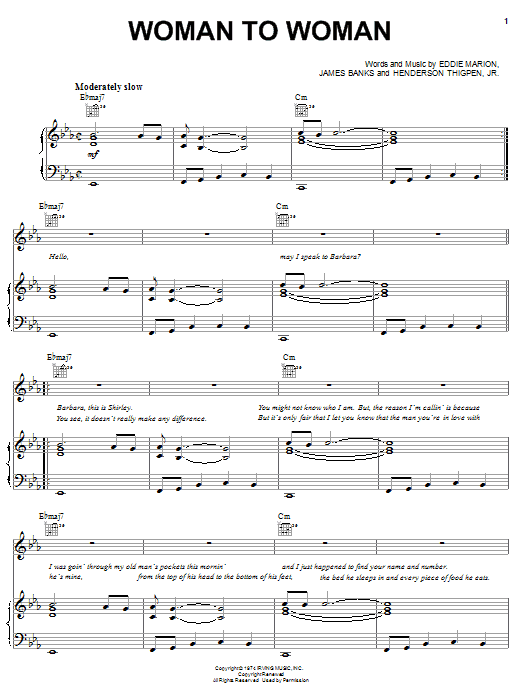 Download Shirley Brown Woman To Woman sheet music and printable PDF score & Rock music notes