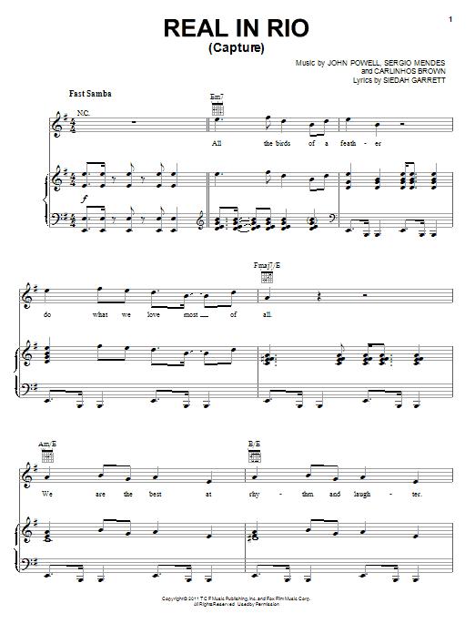 Download Siedah Garrett Real In Rio (Capture) sheet music and printable PDF score & Children music notes