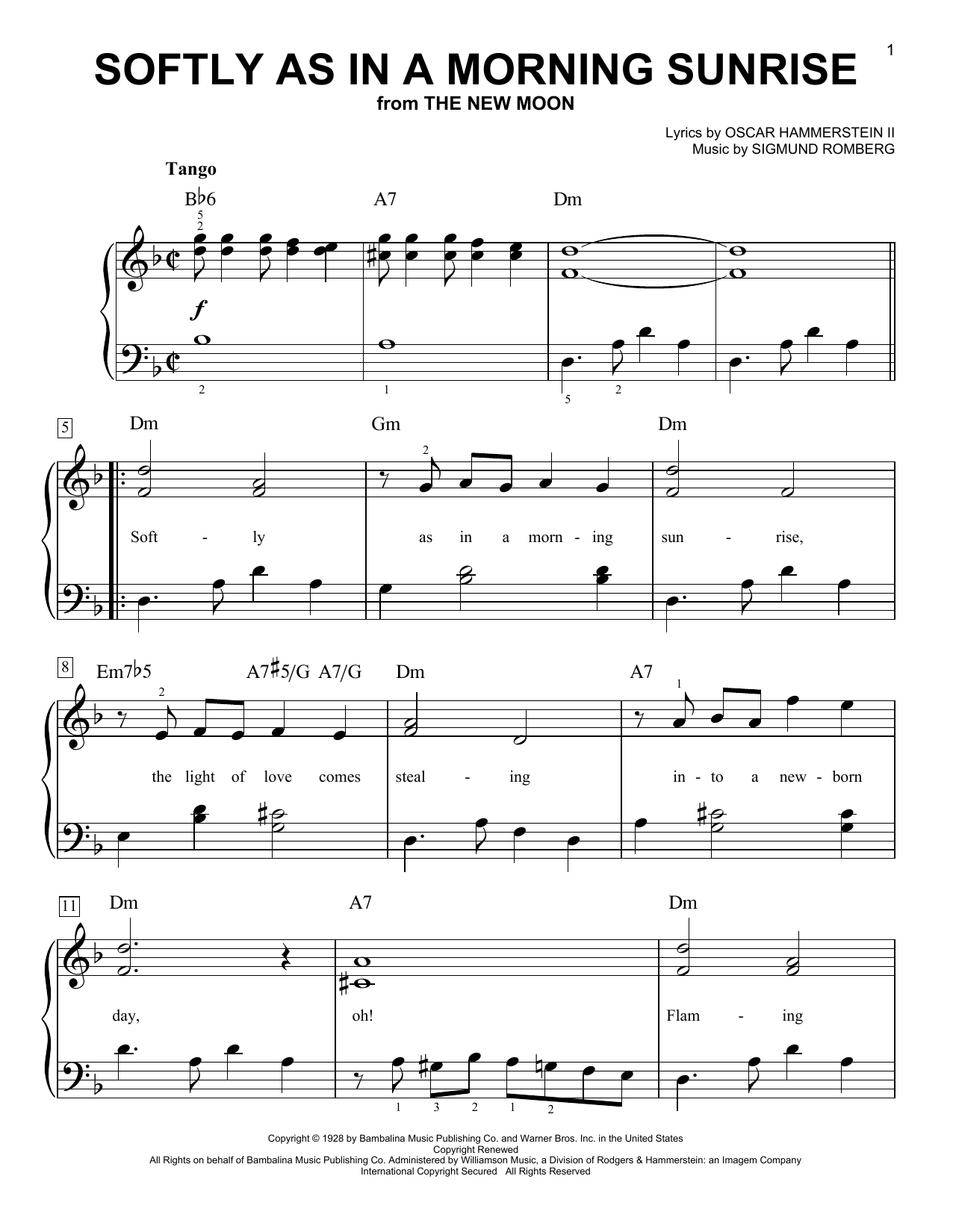 Download Sigmund Romberg Softly As In A Morning Sunrise sheet music and printable PDF score & Jazz music notes