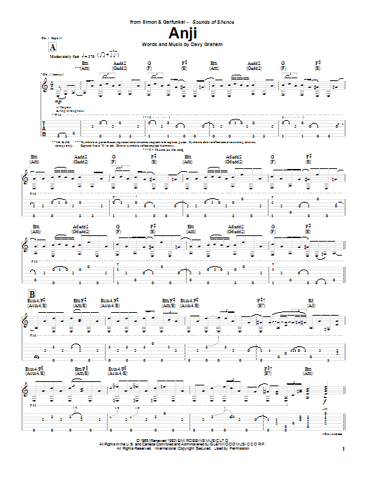 Download Simon & Garfunkel Anji sheet music and printable PDF score & Pop music notes