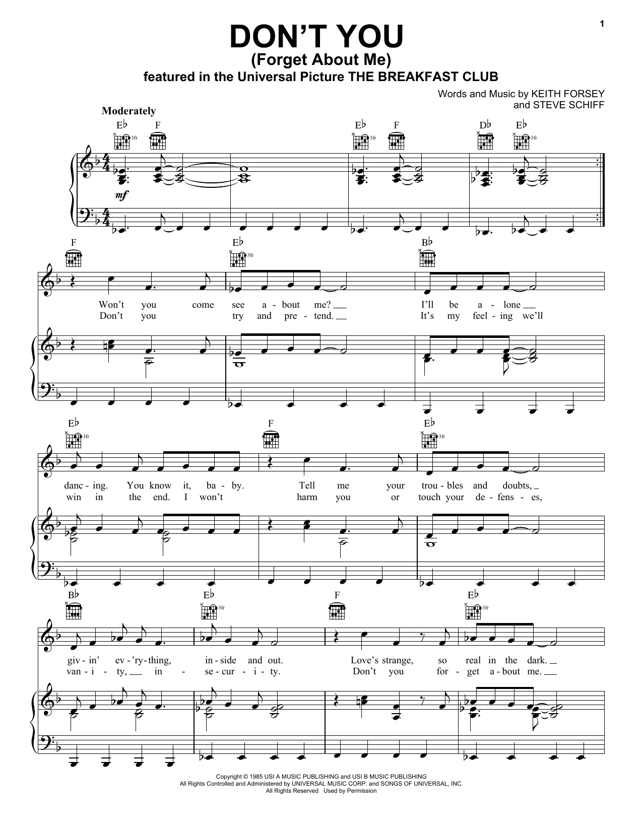 Download Simple Minds Don't You (Forget About Me) sheet music and printable PDF score & Rock music notes