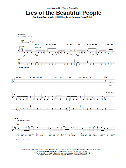 Download Sixx A.M. Lies Of The Beautiful People sheet music and printable PDF score & Pop music notes