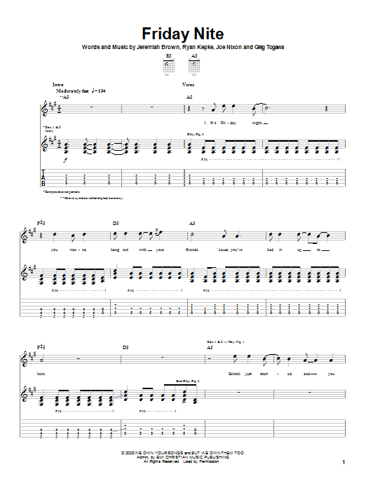 Download Slick Shoes Friday Nite sheet music and printable PDF score & Rock music notes