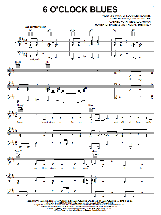 Download Solange 6 O'Clock Blues sheet music and printable PDF score & Rock music notes