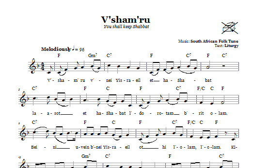 Download South African Folksong V'sham'ru (You Shall Keep Shabbat) sheet music and printable PDF score & Religious music notes