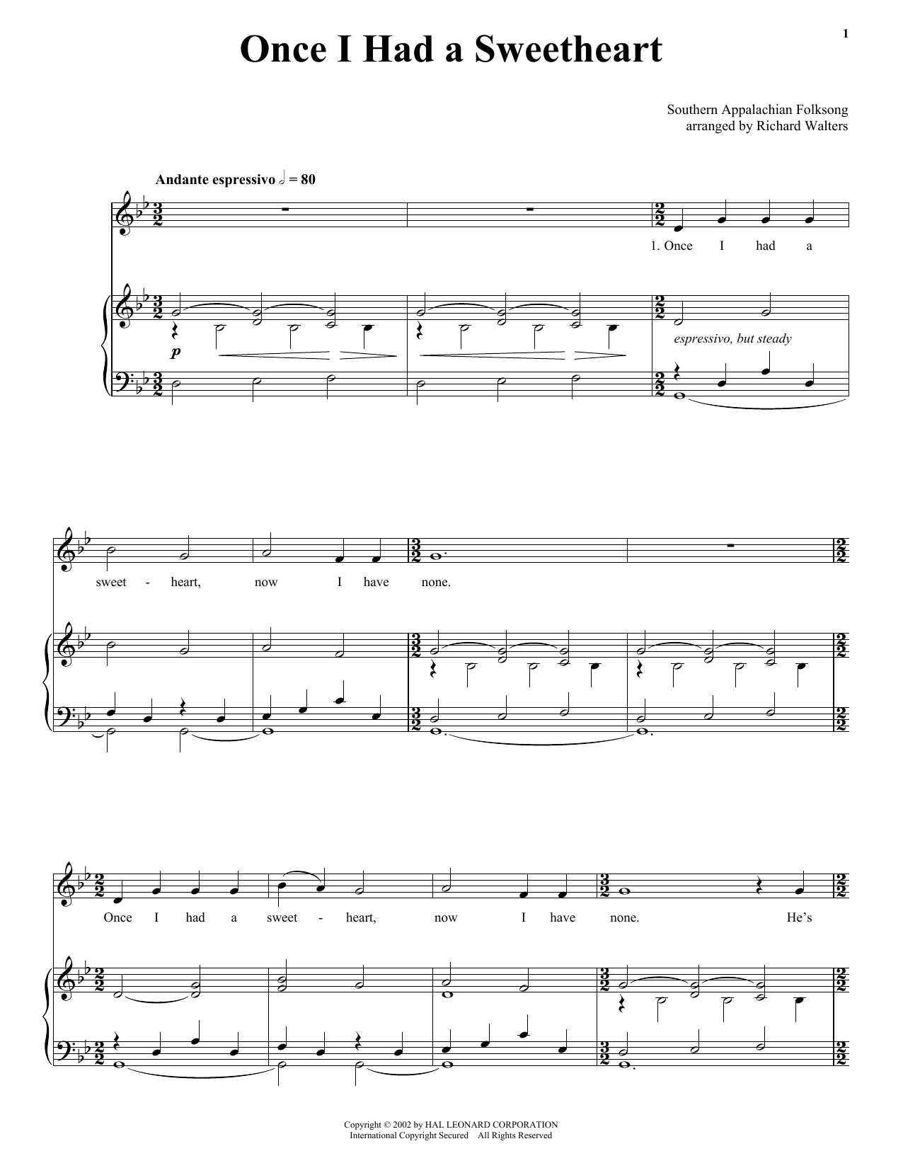 Download Southern Appalachian Folk Song Once I Had A Sweetheart sheet music and printable PDF score & Folk music notes