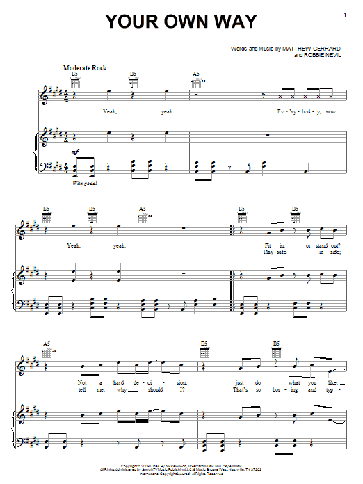 Download Spectacular! (Movie) Your Own Way sheet music and printable PDF score & Rock music notes