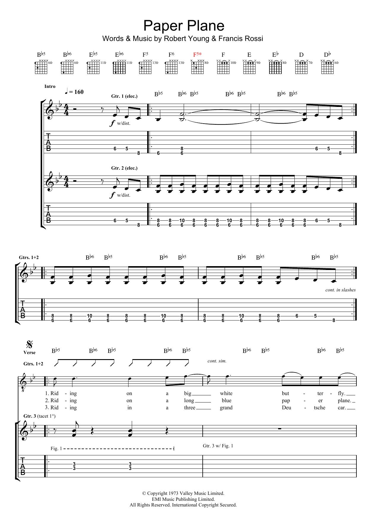 Download Status Quo Paper Plane sheet music and printable PDF score & Rock music notes