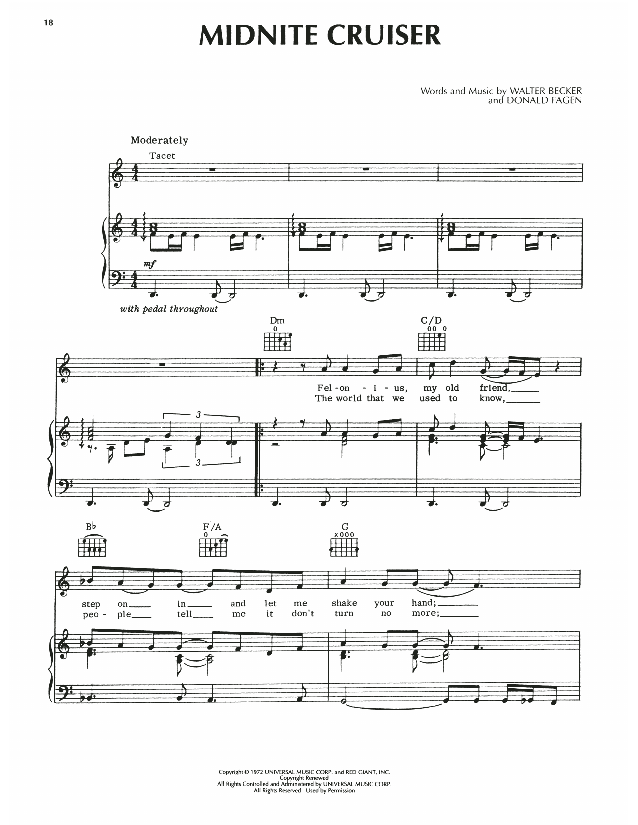 Download Steely Dan Midnite Cruiser sheet music and printable PDF score & Pop music notes