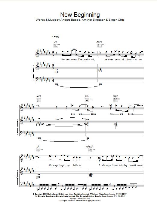Download Stephen Gately New Beginning sheet music and printable PDF score & Pop music notes