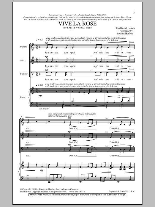 Download Stephen Hatfield Vive La Rose sheet music and printable PDF score & Concert music notes