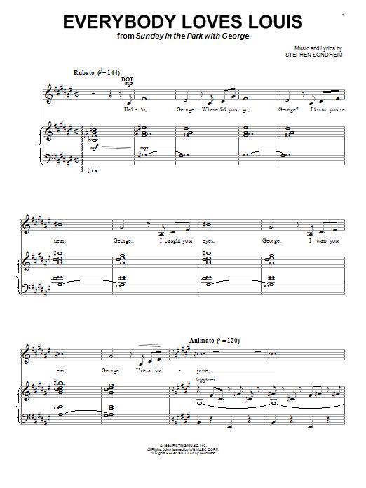 Download Stephen Sondheim Everybody Loves Louis sheet music and printable PDF score & Broadway music notes