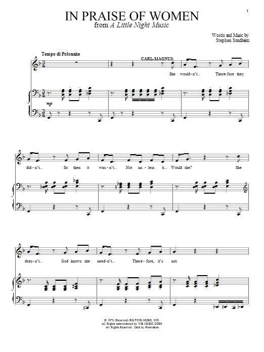 Download Stephen Sondheim In Praise Of Women sheet music and printable PDF score & Broadway music notes