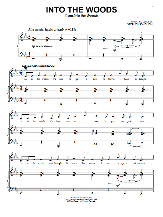 Download Stephen Sondheim Into The Woods sheet music and printable PDF score & Broadway music notes