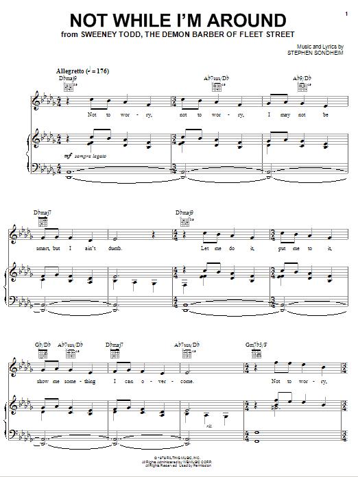 Download Stephen Sondheim Not While I'm Around sheet music and printable PDF score & Broadway music notes