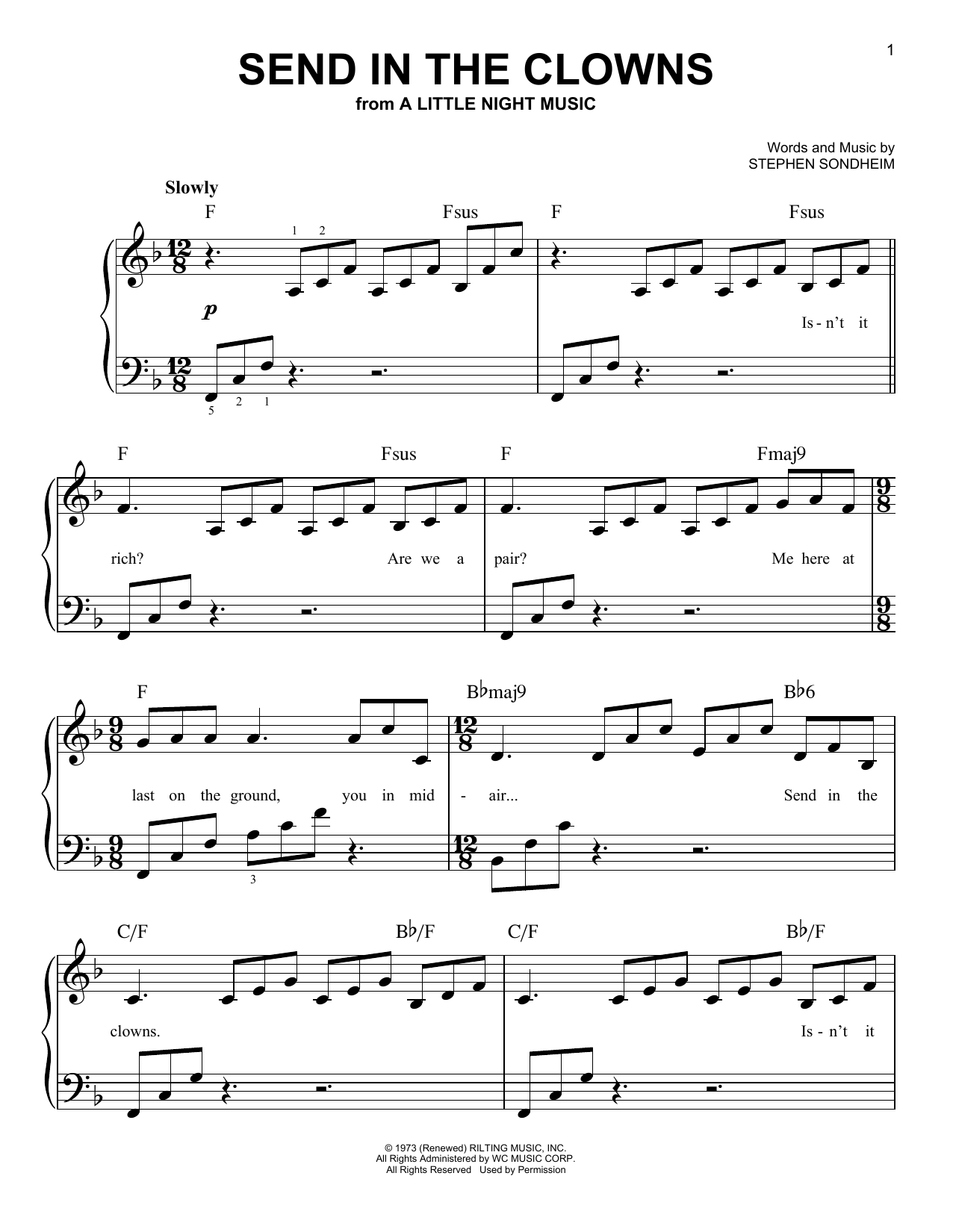 Download Stephen Sondheim Send In The Clowns sheet music and printable PDF score & Broadway music notes