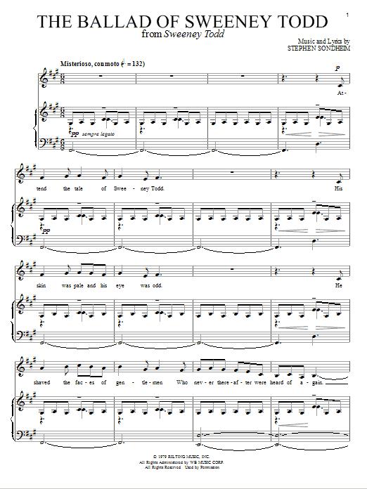 Download Stephen Sondheim The Ballad Of Sweeney Todd sheet music and printable PDF score & Broadway music notes
